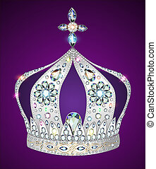 shiny crown of silver on purple background
