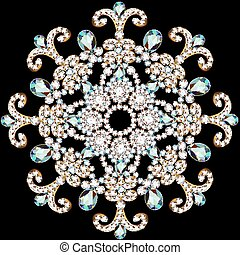 illustration shiny snowflake made of precious stones on...