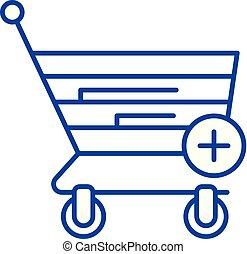 illustration., shopping, concept., vetorial, símbolo, online, linha, apartamento, ícone, esboço, sinal