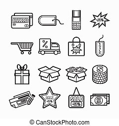 Illustration  Shopping icons set. Vector