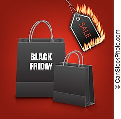 Shopping Paper Bags for Black Friday Sales and Discount with Fire