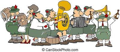 Bavarians having an Oktoberfest party