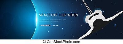 illustration., shuttle., exploration., vecteur, arrière-plan., astronomique, galaxie, espace