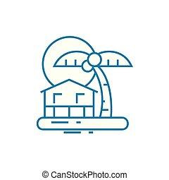 illustration., signe, île, concept., symbole, recours, vecteur, ligne, icône, linéaire