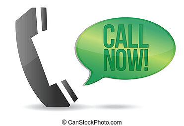 illustration, signe, appel téléphonique, conception, maintenant