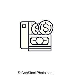 illustration., signe, argent, concept., symbole, vecteur, ligne, icône, linéaire