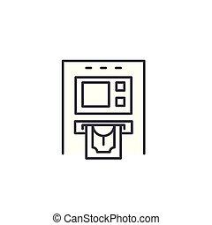 illustration., signe, concept., distributeur billets banque, symbole, vecteur, ligne, icône, linéaire