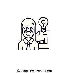 illustration., signe, concept., symbole, entrepreneur, vecteur, ligne, icône, linéaire