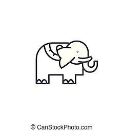 illustration., signe, concept., symbole, vecteur, éléphant, ligne, icône, linéaire