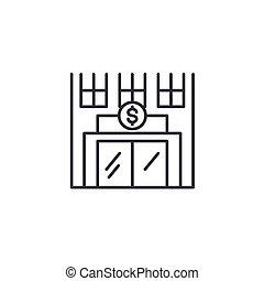 illustration., signe, concept., symbole, vecteur, ligne, icône, banque, linéaire