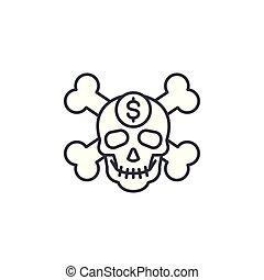 illustration., signe, concept., symbole, vecteur, ligne, icône, corruption, linéaire