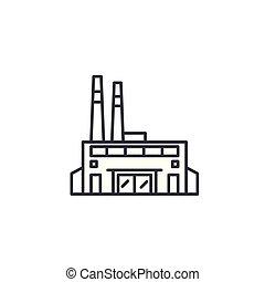 illustration., signe, concept., usine, symbole, vecteur, ligne, icône, linéaire