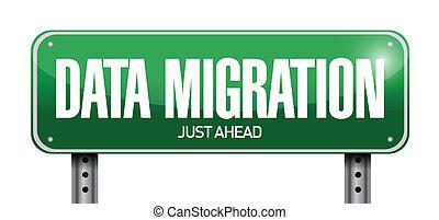 illustration, signe, conception, migration, données, route