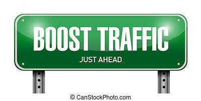 illustration, signe, conception, trafic, poussée, route