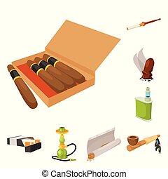 illustration., signe., habitude, vecteur, tabac, stockage, fumeur, illustration, collection