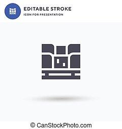 illustration., signe, logo, blanc, isolé, vecteur, presentation., rempli, pictogramme, icône, chutes d'eau, plat, solide