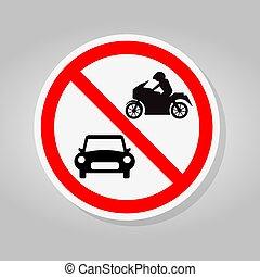 illustration, signe, motocyclette, symbole, voiture, isoler, interdir, fond blanc