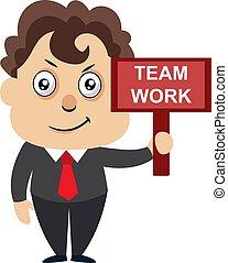 illustration, signe, travail, arrière-plan., vecteur, équipe, blanc, homme