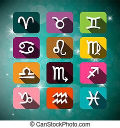 illustration., signes, ciel, stars., vecteur, astrologique, nuit, astrologie