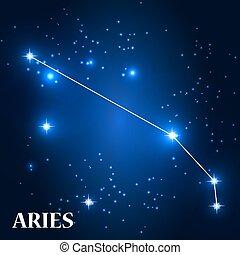 illustration., signo., vector, aries, symbol:, zodíaco