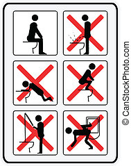 illustration signs how to or how not to use a toilette / water closet (w.c.)