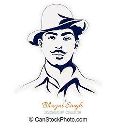 illustration, sikh, liberté, bhagat, singh., combattant, indien, vecteur