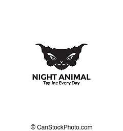 Illustration silhouette night animal head logo design vector