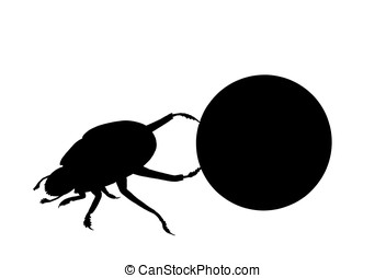 dung beetle - illustration, silhouette of a dung beetle...