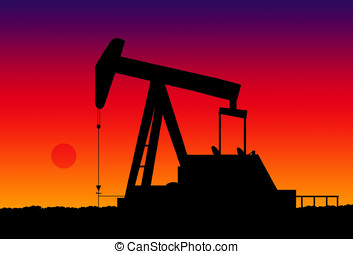 oil pump jack - illustration, silhouette of an oil pump jack...