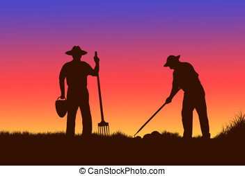 farm workers - illustration, silhouette of farm workers at...