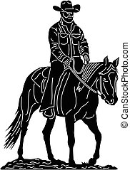 Cowboy and horse - Illustration silhouette of great Cowboy...