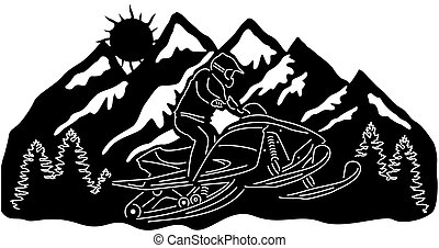 snowmobile - Illustration silhouette of great snowmobile