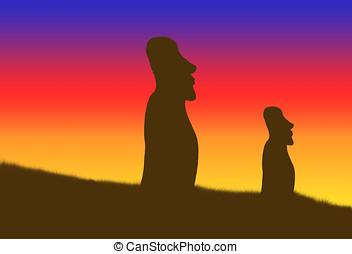 moai statues - illustration, silhouette of moai statues of...