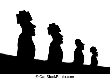 moai statues - illustration, silhouette of moai statues of...