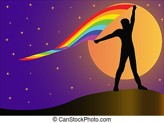 illustration silhouette person who keeps developing rainbow on background of the moon