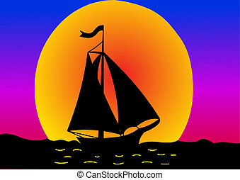 silhouette sail on sundown