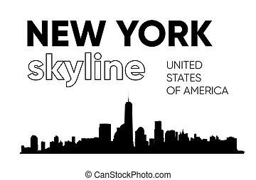 illustration., silhouette., skyline, vetorial, york, novo