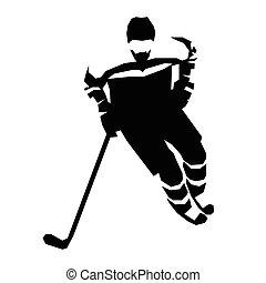 illustration., silhouette, vecteur, hockey, glace, plat, joueur