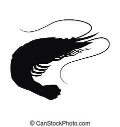 illustration., silhouette, vecteur, isolé, icône, crevette