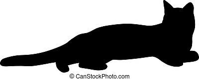 illustration., silhouette, vecteur, noir, cat.