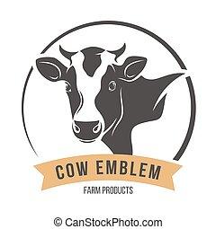 illustration., silhouette, vecteur, vache, emblème, label., tête