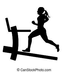 illustration., silhuetas, executando, vetorial, menina, treadmill.