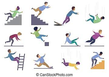 illustration., silla, tropezar, caer, accidente, vector, se ...