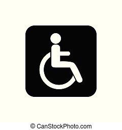 illustration., silueta, vector, disable, icon., design., plano, persona