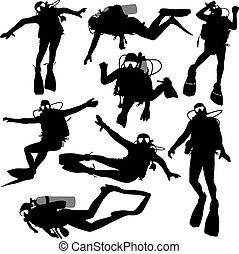 illustration., silueta, vector, escafandra autónoma, negro, ...