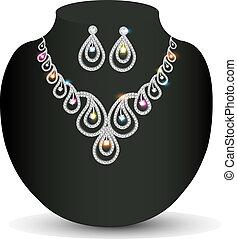 silver necklace woman with precious stones