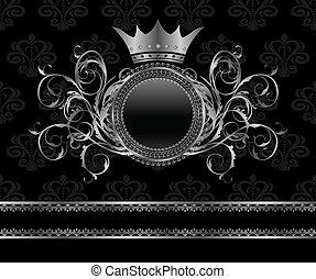 Illustration silver vintage frame template - vector