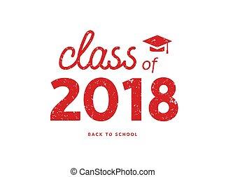 illustration., simbolo, diploma, laureato, accademico, università, 2018, educazione, distintivo, classe