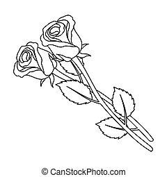 illustration., simbolo, rose, vettore, fondo., isolato, stile, due, bianco, cerimonia, funerale, icona, casato, contorno