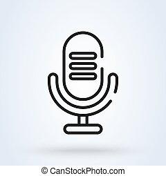illustration., simple, ligne, moderne, microphone, vecteur, design., icône